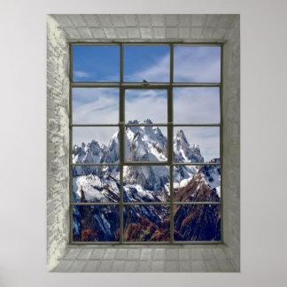 Pôster janela da falsificação do Mountain View 3D
