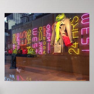 Pôster Janela de armazém New York das luzes de néon NYC