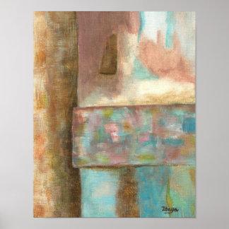 Poster Janela Pastel do castelo da fantasia da pintura da
