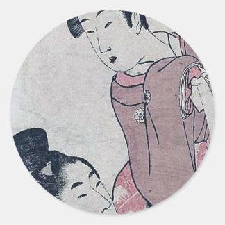 Poster japonês da mulher adesivos redondos