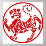 Poster japonês do karaté do tigre de Sun de ascens