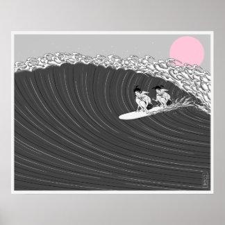 poster japonês do surf do por do sol
