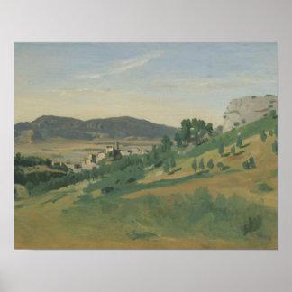 Pôster Jean-Baptiste-Camilo Corot - vista de Olevano
