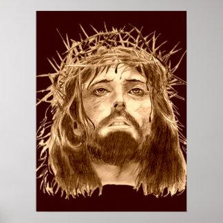 Poster Jesus Cristo com uma coroa de espinhos