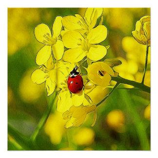 Pôster Joaninha amarelo do vermelho da boa sorte da flor