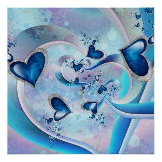 Pôster Jóias azuis do Fractal dos corações do oceano