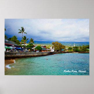 Poster Kailua Kona, Havaí • Arte de Digitas da pintura de