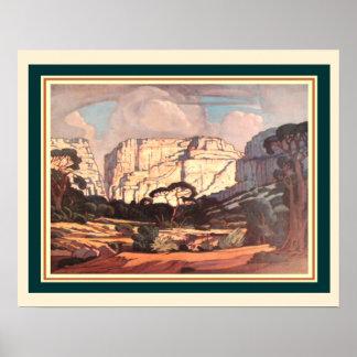 Pôster Kloof S. África de Rustenburg por J.H. Pierneef