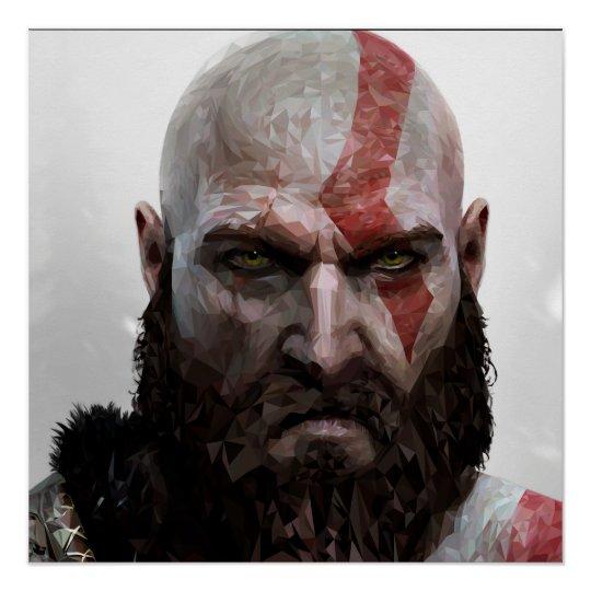 Pôster Kratos - Low Poly - Poster 50.8cm x 50.8cm