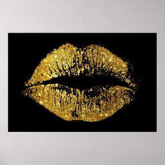 Poster Lábios do brilho do ouro