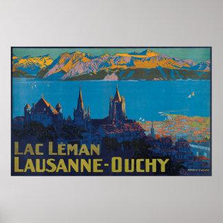 Poster Laca Leman Lausana Ouchy, viagens vintage de