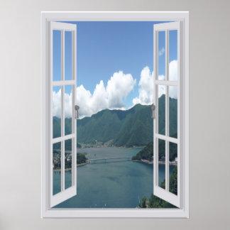 Pôster Lago Trompe mountain - l ' janela do falso do oeil