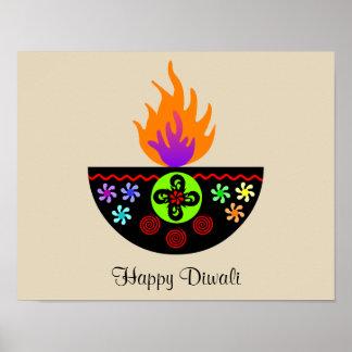 Pôster Lâmpada colorida Diya de Diwali