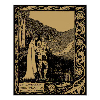Pôster Lancelot e Hellawes por Aubrey Beardsley