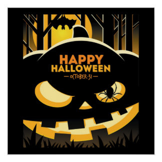 Poster/Lanterna feliz do Dia das Bruxas Poster Perfeito