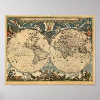 Poster Latin muito velho do mapa do mundo Pôster