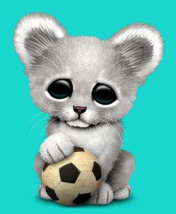 Poster Leão Cub branco com a bola de futebol do futebol 7e939d7d08a6e