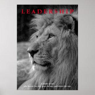 Poster Leão inspirador branco preto da liderança