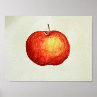 Poster legal da aguarela da maçã vermelha
