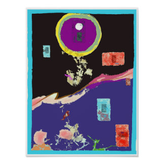 Poster legal do Expressionism abstrato da lua Pôster