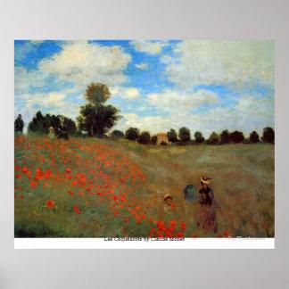 Pôster Les Coquelicots por Claude Monet