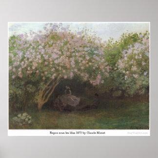 Pôster Lilas sous 1872 dos les do Repos por Claude Monet