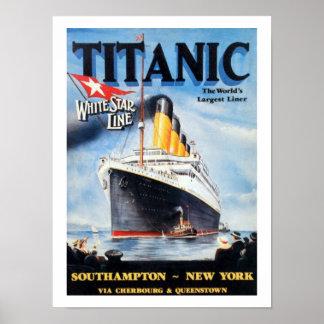 Poster Linha branca titânica da estrela - o forro o maior