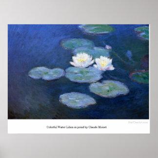 Poster lírios de água coloridos na lagoa por Claude Monet