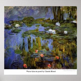 Poster Lírios de água na lagoa por Claude Monet