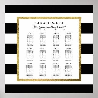 Poster Listras pretas & brancas que Wedding a carta do