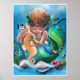 Poster Little Boy Merm e seu cavalo de mar