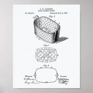 Pôster Livro Branco da arte da patente da cesta de