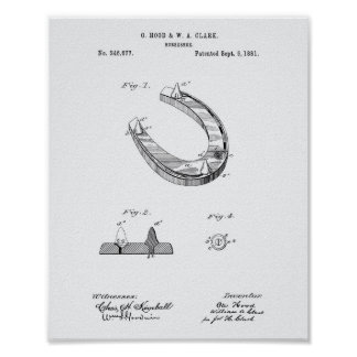 Poster Livro Branco da arte da patente da ferradura 1881