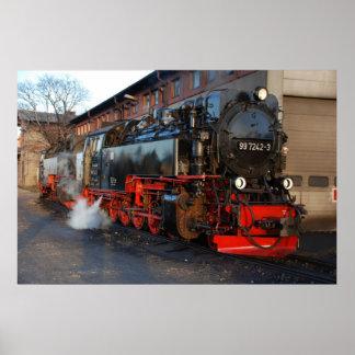 Poster Locomotiva de vapor alemão