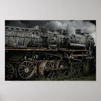 Poster locomotivo abandonado do trem do vapor