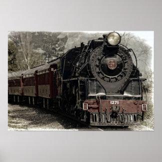 Poster locomotivo antigo do trem do motor de vapor