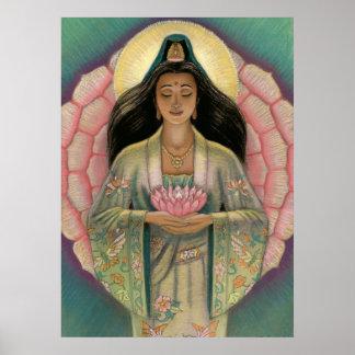 """Poster Lotus da deusa """"do coração cor-de-rosa"""" de  Pôster"""