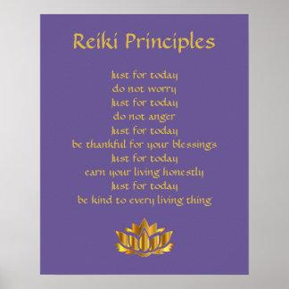 Pôster Lótus do roxo/ouro dos princípios de Reiki