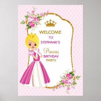 Poster louro bonito da princesa festa de