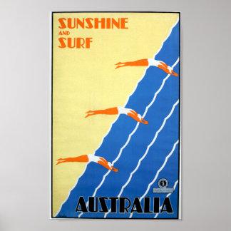 Pôster Luz do sol e surf do vintage no viagem de