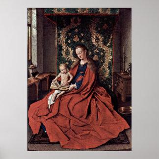 Poster Madonna e criança que lêem daqui até janeiro