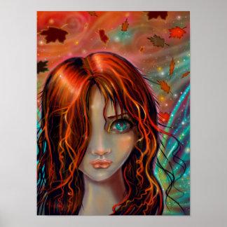 Pôster Mágica da arte feericamente 12 x 16 da fantasia do