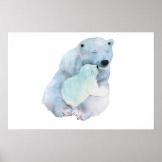 Poster Mamã com seu filhote - azul do urso polar