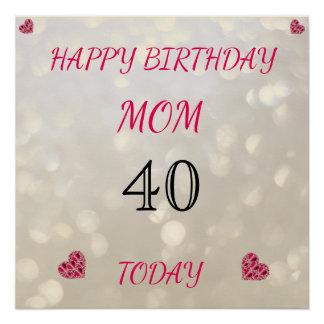 Pôster Mamã feliz do aniversário de 40 anos