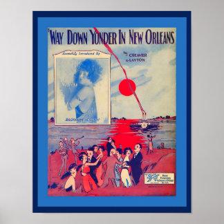 Poster Maneira da partitura do vintage para baixo além em