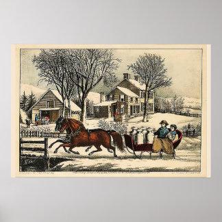 Poster Manhã do inverno no Currier & no Ives do país