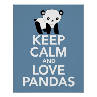 Poster Mantenha a calma e as pandas do amor imprimem ou