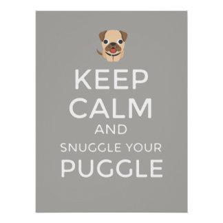 Pôster Mantenha a calma & Snuggle seu Puggle - POSTER