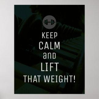Poster Mantenha a inspiração calma do gym do cobrir da
