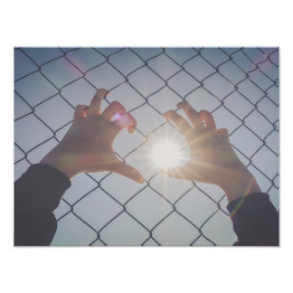 Poster Mãos do refugiado na cerca